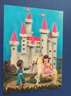 Cartoon  - Castle - Horse  - OLD  Postcard 3D Stereo PC - Stereoskopie