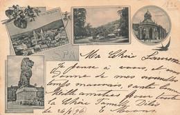 """SPA - En 4 Vues """"Vue Générale - Le Parc - Le Pouhon - Barrage De La Gileppe - Carte Circulé En 1896 - Spa"""