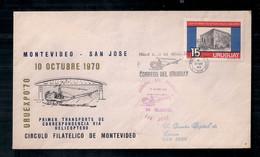 Uruguay 1970 Enveloppe Circulée Premier Transport De Correspondance Par Hélicoptère - Covers & Documents
