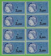 Lot De 8 Timbres Fiscaux (F 5,00) - Revenue Stamps