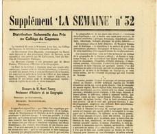 """Période Jean Rapenne Gouverneur Guyane 1944.imprimerie Du Gouvernement.Cayenne.journal Supplément """" La Semaine """" N° 32. - Altri"""