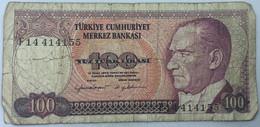 Billete Turquía. 100 Liras. 1970. Original. BC. - Turkey