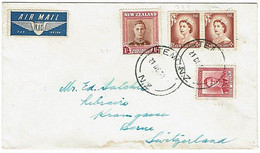 NZ - SWITZERLAND 1953 KGVI & QEII COMMERCIAL COVER 1/9 RATE - Covers & Documents