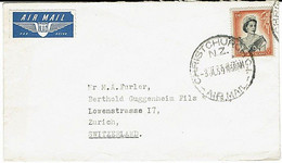 NZ - SWITZERLAND 1959 QEII COMMERCIAL COVER SINGLE 1/9 RATE - Covers & Documents