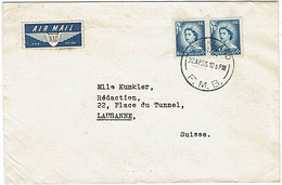 NZ - SWITZERLAND 1955 QEII COMMERCIAL COVER 8d RATE FMB CDS - Covers & Documents