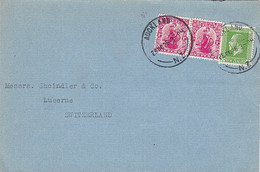 NZ - SWITZERLAND 1926 DOMINION & KGV COMMERCIAL COVER 2.1/2d RATE AUCKLAND CDS - Covers & Documents