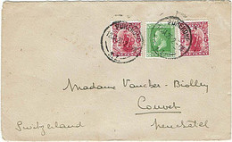 NZ - SWITZERLAND 1923 DOMINION & KGV COMMERCIAL COVER 2.1/2d RATE PUKEKOHE CDS - Covers & Documents