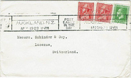 NZ - SWITZERLAND 1929 KGV COMMERCIAL COVER 2.1/2d RATE AUCKLAND POST SLOGAN - Covers & Documents
