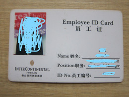 InterContinental Foshan, China, Employee ID Card,with A Little Bend And Damages - Chiavi Elettroniche Di Alberghi