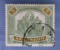 MALAYA 1896 SELANGOR Elephants & Howdah $3 Used SG#63 M3366D - Selangor