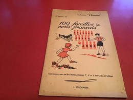 """Livret : 100 FAMILLES DE MOTS FRANCAIS  De 1962  - Collection """"L'Essentiel""""  - 26 Pages - 12-18 Years Old"""