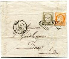 GARD De NIMES LAC 3 Ième échelon Du 8/05/1875 Avec N°38+N°56 Oblitérés GC 2659 - 1849-1876: Klassik