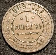 RUSSIE - RUSSIA - 1 KOPECK 1909 С.П.Б. - KM 9.2 - КОПѢЙКА - ( Nikolai II - St. Petersburg Mint ) - Rusland