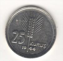 TURKEY,TURQUIE,TURKEI,TURKEY 25  KURUS  SILVER 1944 - Turkey