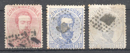 SP082 1872,1873 SPAIN KING AMADEO I MICHEL #114,121,122 3ST USED - Gebraucht
