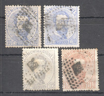 SP143 1872,1872 SPAIN KING AMADEO I MICHEL #114,116,122a,b 12 EURO 4ST USED - Gebraucht