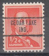 USA Precancel Vorausentwertungen Preos, Locals Indiana, Cedar Lake 734 - Préoblitérés