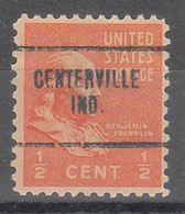 USA Precancel Vorausentwertungen Preos, Locals Indiana, Centerville 704 - Préoblitérés
