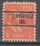 USA Precancel Vorausentwertungen Preos, Locals Indiana, Cloverdale 734 - Préoblitérés