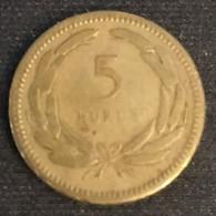 TURQUIE - TURKEY - 5 KURUS 1951 - KM 887 - Turkey
