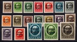 152-170B Aufdruck Freistaat Bayern Auf Ludwig Geschnitten, Satz Kpl. 19 Werte ** - Bavaria