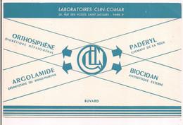 Buvard Laboratoires CLIN-COMAR, Paris 20 Rue Des Fossés St Jacques: Orthosiphène, Padéryl,Biocidan... - Chemist's