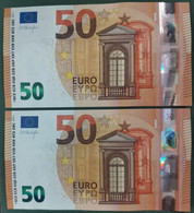 50 EURO SPAIN DRAGHI  2014 V017A1 VB UNCIRCULATED CORRELATIVE COUPLE BANKNOTES PERFECT - 50 Euro