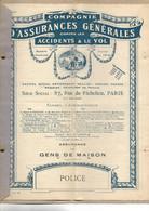 1924 Police Assurance Gens De Maison / Cie Assurances PARIS / Jardinier Sans Soins Aux Chevaux - Bank & Insurance