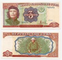 CUBA 1995 BANKNOTE 3 PESOS UNC P 113 -CAG 260821.274 - Cuba