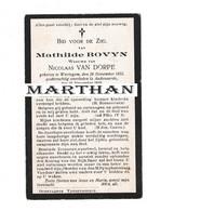 DOODSPRENTJE BOVYN MATHILDE WEDUWE VAN DORPE WORTEGEM OUDENAARDE 1855 - 1930 - Devotion Images