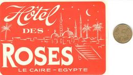 ETIQUETA DE HOTEL  -DES ROSES  -LE CAIRE-EGYPTE - Hotelaufkleber