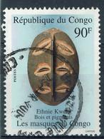 Congo (Brazzaville), 90f, Masque, Ethnie Kwele, 1998, Obl TB - Gebraucht