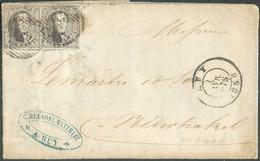 N°6 En Paire TB Margée Et 3 Voisins, Obl; P.62 Sur Lettre De HUY (soc. DELLOYE-MATTHIEU) Du 1 Février 1858 Vers Nederb - 1851-1857 Medallions (6/8)