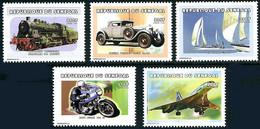 Sénégal 1999 Transports Concorde, Locomotive S-10 Prusse, Moto Ducati, Bentley Coupé YT 1487, Mi 1712 Gibbons 1579) - Aerei