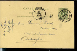Carte N° 19.A. I.  Obl. CONTICH 29/05/1889 - Postcards [1871-09]