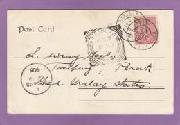 CARTE POSTALE DE MARSEILLE POUR TAIPING,MALAISIE,VIA PENANG.1906. - Covers & Documents