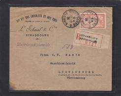 CIE FRANCAISE DES CHOCOLATS ET DES THES,STRASBOURG.LETTRE RECOMMANDEE DE LUDWIGSBURG,ALLEMAGNE.1926. - Cartas