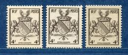 ⭐ France - Variété - YT N° 735 - Couleurs - Pétouilles - Neuf Sans Charnière - 1945 ⭐ - Varieties: 1945-49 Mint/hinged