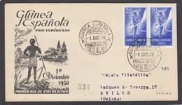 LETTRE DE GUINEE ESPAGNOLE AVEC 2 X YV. NO 325 POUR AVILES,ESPAGNE.1950. - Guinée Espagnole