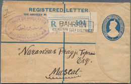 Bahrain: 1921 Indian Postal Stationery Registered Envelope KGV. 2+1a. Blue Used From BAHRAIN And Add - Bahrein (1965-...)