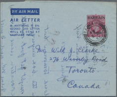"""Bahrain - Ganzsachen: 1952 First Air Letter KGVI. 6a. On 6d. Used To Toronto, Canada And Cancelled """" - Bahrein (1965-...)"""