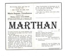 DOODSPRENTJE VERSCHUEREN MARIA WEDUWE VAN DORPE WORTEGEM OUDENAARDE 1883 - 1963 - Devotion Images