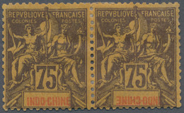 Französisch-Indochina: 1892/93, Country Name Inverted: Type Sage 75 C. Horizontal Pair, Pos. 2 With - Nuevos