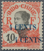 Französisch-Indochina: 1919, 4 C. On 10 C., Double Printing Of Surcharge, Unused Mounted Mint. - Nuevos