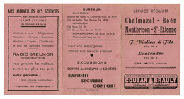 """Horaire Des Cars - Septembre 1954 """"La Flèche De Couzan"""" Chalmazel - Boen - Montbrison - St Etienne, F Viallon & Fils - Europa"""