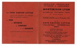 Horaire D'hiver à Partir Du 29 11 1954, Service Montbrison-Lyon Par Les Cars Carton-Cottin - Europa