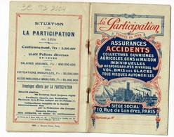 """Livret De 12 Pages """"La Participation"""" Assurances Accidents, 1924, Multirisques - Other"""