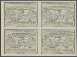 """Costa Rica - Ganzsachen: 1920 International Reply Coupon Design """"Madrid"""" As Block Of Four 40 C. Cost - Costa Rica"""