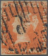 Mauritius: 1848, 1d Orange Vermilion 'Post Paid', Earliest Impression, Three Full Margins, Just Touc - Mauritius (...-1967)