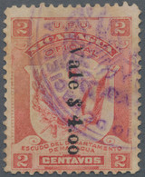 "Nicaragua - Dienstmarken: 1907, ""Vale $ 4.00"" On 2 C. Carmine, Very Scarce Item, Used, Scott O175, S - Nicaragua"